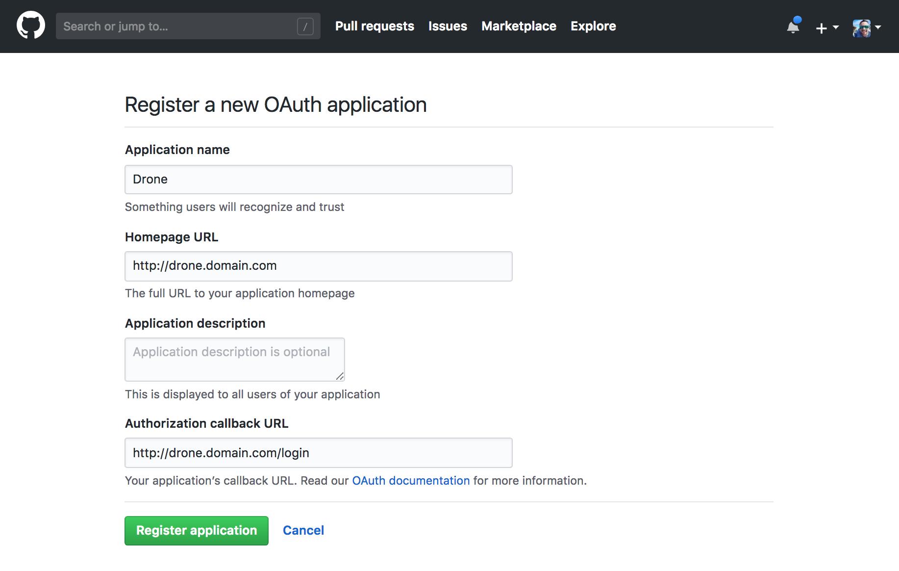 Github Application Creation