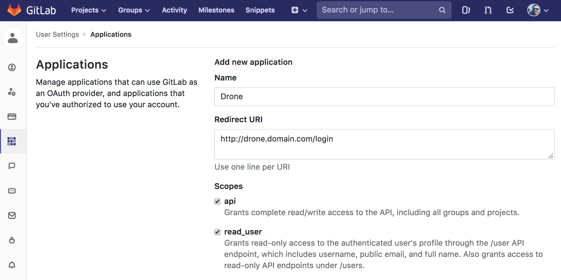 GitLab Application Creation