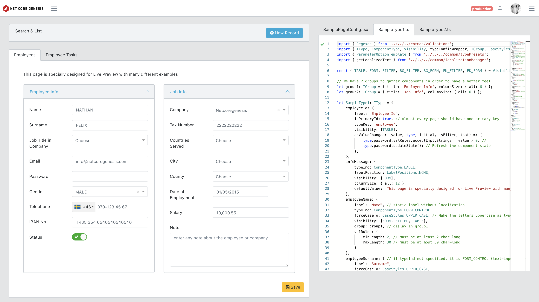 Live Preview / Model JSON